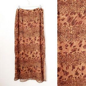 Piano Vintage Silk Cheetah Leopard Maxi Skirt XL
